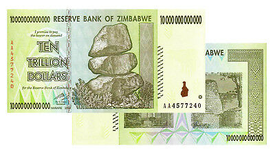 10 Trillion Zimbabwe Banknotes 2008 AA Series Uncirculated
