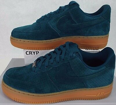 New Womens 7.5 NIKE Air Force 1 07 Suede Teal Gum Shoes $95 749263-301