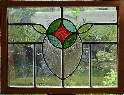 Antique Leaded English Stained Glass Window Wood Frame England Old House 45