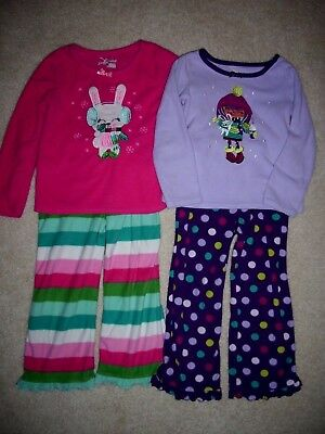 Lot of 2 pair Jumping Beans Girls Fleece Pajamas Size 4 Purple Pink Bunny