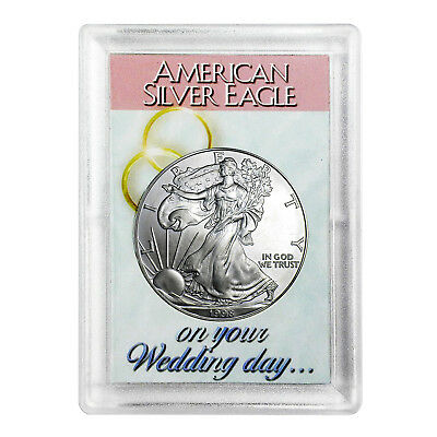 1998 $1 American Silver Eagle HE Harris Holder - Wedding Day Design