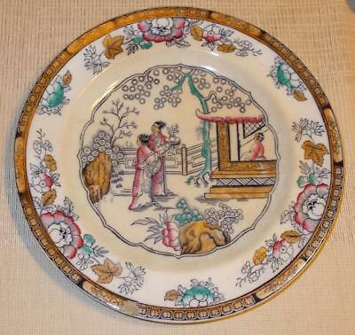Antique Polychrome Porcelain Chinese Pattern Plate H&C Hope Carter Staffordshire
