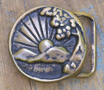 """Early 1970s Tech-Ether """"Colorado Sunrise"""" Solid Brass Buckle"""