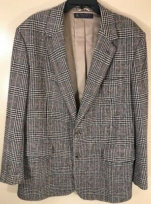 Brooks Brothers Heavy Tweed Houndstooth Coat Blazer Jacket 44L EUC
