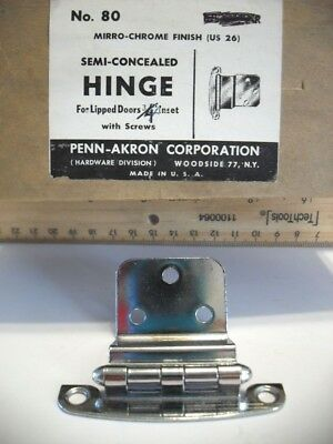 "Vtg NOS CHROME Steel Cabinet HINGES 3/4"" Lipped Doors Semi-Concealed Penn-Akron"