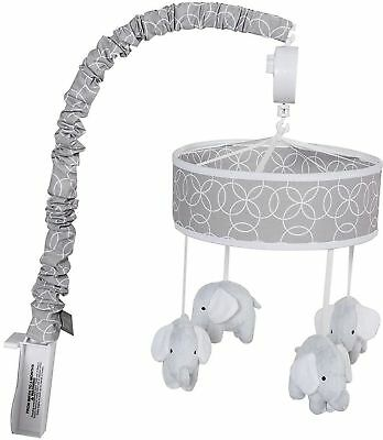 Trend Lab Gray and White Circles, Baby Crib Musical Mobile, Soft Elephants - 254