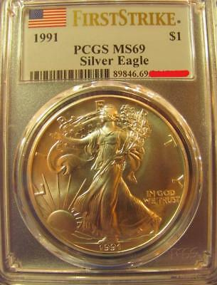 1991 PCGS MS69 ASE Silver Eagle First Strike