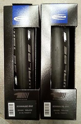 new pair of Schwalbe One folding 700x23 road bike clincher tires black bicycle