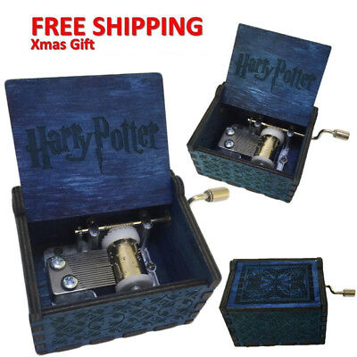 Harry Potter Hand-cranked Engraved Wooden Music Box Fun Kids Toys Xmas Gifts us