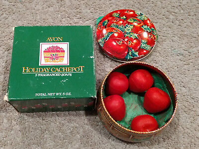 Avon Holiday Cachepot-Apple Shaped Soaps/Decorative Tin/Box-Red/Green-5 oz-New!