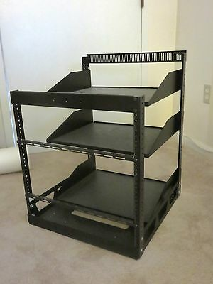 "TIN ELECTRONICS & STORAGE RACK 19.4"" x 21.5"" w/ THREE SHELVES GREAT CONDITION"