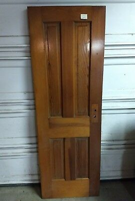 Antique vintage Interior 4 Panel Door wood red  Fir Architectural Salvage 71x 24