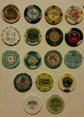 California Casino $1 House Chips, Various Towns - 17 Lot #2 Some Obsolete!
