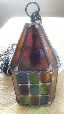Vintage Leaded Stained Glass Lantern Octagon Hanging Swag Fixture  Union Made