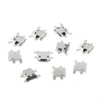 10 Pcs Micro USB Type B 5 Pin Female Socket Connector For Tablet Phone Charging