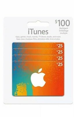 iTunes Gift Cards $100 - (4/$25 cards) - No Email. Ships same day!