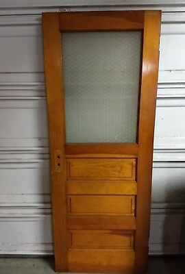 Antique vintage Interior Door wood privacy glass Fir Architectural Salvage