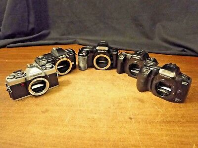 5 Vintage Camera Lot, Minoltas, all different bodys, For Parts or Repair