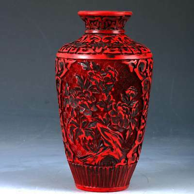 Chinese lacquerware Handwork Carved Flower Vase QQ17
