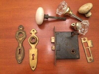 Antique Art Deco Brass Door Backplates, lock and glass door knobs