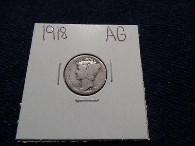 #70 About Good Mercury Silver Dime 1918