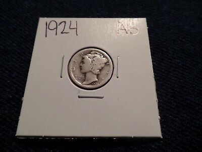 #74 About Good Mercury Silver Dime 1924