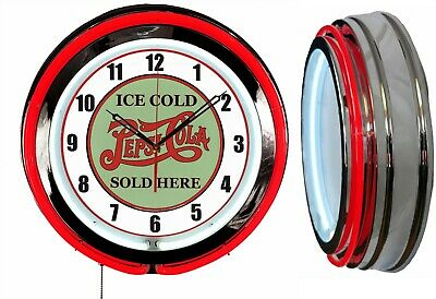 "Pepsi Cola Ice Cold Sold Here 19"" Double Neon Red Clock Vintage Look Mancave Bar"