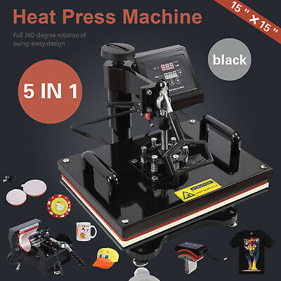 "5 in 1 Heat Press Machine For T-Shirts 15""x15"" Combo Kit Sublimation Swing away"