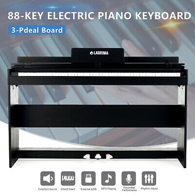 88 Key Hammer Action Electric Digital LCD Piano Keyboard w/Stand+3 Pedal Board