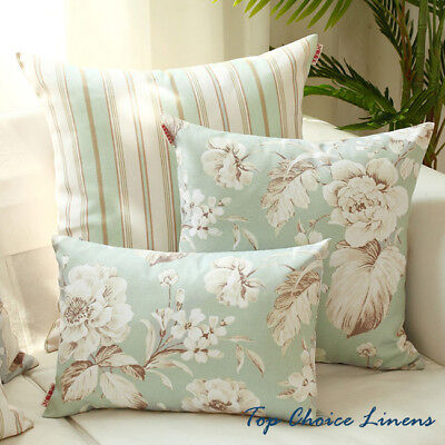Home Decorative French Provincial Country Rose/Stripes Cushion Cover-Light Jade