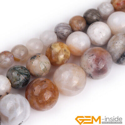 """Natural White Bamboo Agate Gemstone Round Spacer Loose Jewelry Making Beads 15"""""""