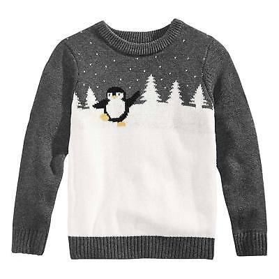 Holiday Arcade Kids Charcoal Penguin Colorblock Crew Sweater 10-12 Large #5969