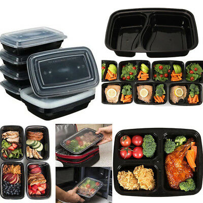 20Pcs Microwave Safe Plastic Meal Prep Container Lunch Box Food Storage Takeaway