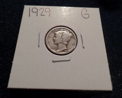 #98 Good Mercury Silver Dime 1929