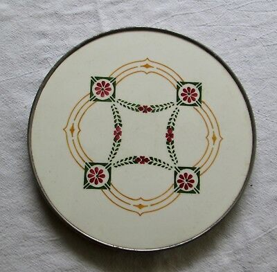 Vintage Hand Painted Tile Trivet with Nickel Edge and Feet Made In Germany