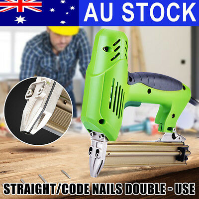 AU Dual Use Electric Staple Gun Straight/Code Nailer Tacker Upholstery Stapler