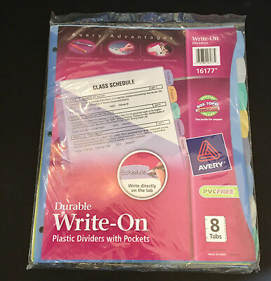 Avery Write & Erase Durable Plastic Dividers with Pockets, 8 Multicolor Tabs, 1