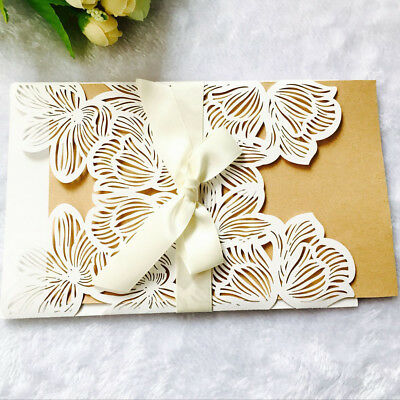 Bow Envelopes Cards White Flower Lace Laser Cut Wedding Invitations Cards 10pcs