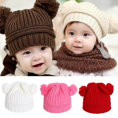 Winter Newborn Baby Girls Boys Crochet Beanie With Two Faux Fur Pom Pom Hat