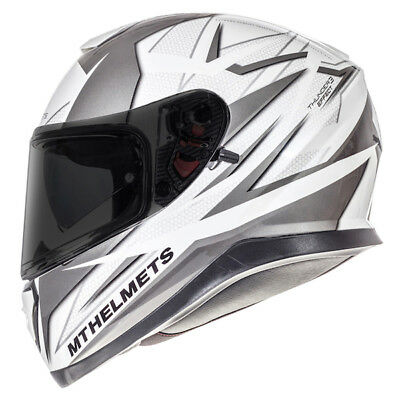 MT Thunder 3 SV Effect Full Face Motorcycle Motorbike Helmet - White/Grey