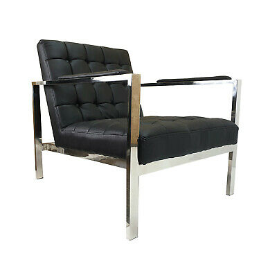 Astounding Real Leather Lobby Chair Barcelona Style With Arms 234 95 Ncnpc Chair Design For Home Ncnpcorg