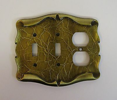 Vintage Amerock Carriage House Antique Brass Finish Duplex Switch Outlet Cover