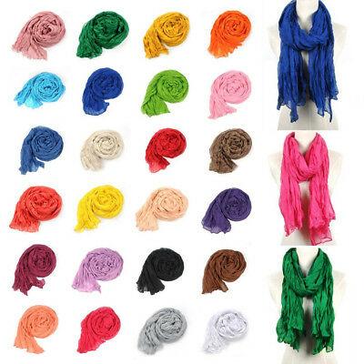 Womens Lightweight Scarf Cotton Neck Wrinkle Shawl Colorful Long New Soft