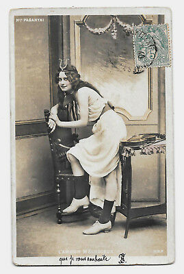 CPA F12 Mlle PAGANYNI ARTISTE THEATRE ROLE AMOUR MELODIEUX BIJOU DIADEME LYRE