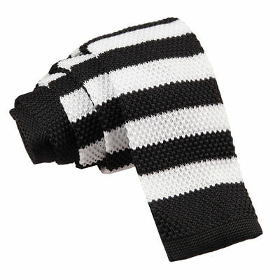 DQT Knit Knitted Striped Black White Casual Mens Skinny Tie