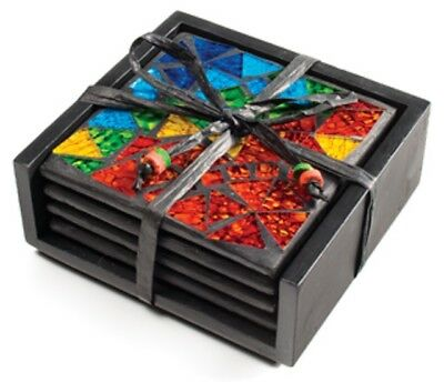 4 Ceramic Rainbow Mosaic Multi Coloured Glass Drinks Coasters With Wooden Holder