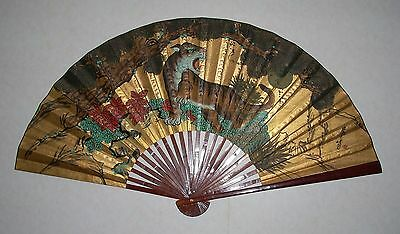 "Huge 35"" x 63"" Asian China Folding Wall Fan Tiger Bamboo Painted Paper Signed"