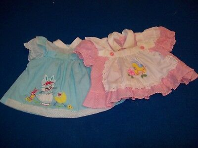 "2) Vintage 80""s Baby Girl Dresses 12Mo. As Is Need Sleeve Elastic"