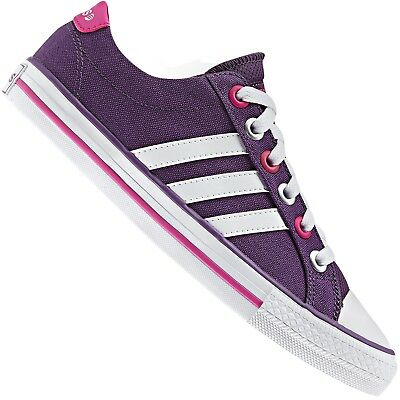 huge discount 0c8fd 35978 Adidas Neo Label Canvas Vl 3 Stripes Sneaker Lifestyle Schuhe Lila Pink  Weiss