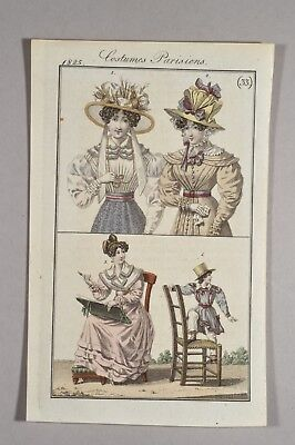 Costume Parisiens 1825 - Original Antique Print  Hüte Hutmode Kindermode Fashion
